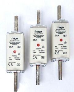 3x Hager LNH1035M / QF1218 NH-Sicherungseinsatz NH1C gG AC500V 35A Kombi-Melder