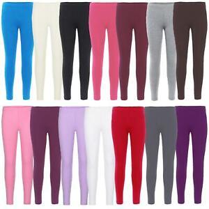 Girls Plain Cotton Leggings Kids Children Teen Basic Stretchy Full Length