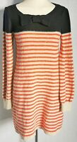 Next Women's Jumper Dress Black Orange Size 8 Striped Knit VGC