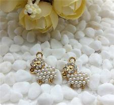 DIY 2PCS alloy rhinestone pearl lovely sheep pendant charm jewelry accessories