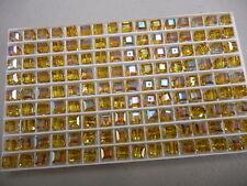 24 swarovski vintage cube shaped crystal beads,6mm lime AB #5601