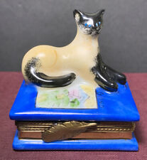 Limoges France Peint Main Siamese Cat Blue Book Porcelain Trinket Box Vintage