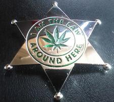 Marijuana  BRASS Security Badge QUALITY metal GREEN Enameled Embossed UNIQUE