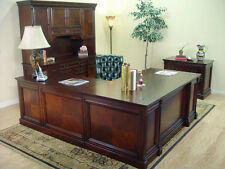 Dark Brown Cherry Traditional Executive Office Suite - 5 Pieces - L Desk