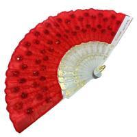 Handfächer Fecher Fächer Dekoration Taschenfächer Deko Wand Dekofächer rot