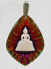 Anhänger 35/26 Buddha rhombe vintage handgemachtes Glas 1960er Jahre handbemalt