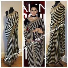 Indio Paquistaní De Novia De Diseñador Karishma Kapoor Sari, sari Negro desgaste del partido