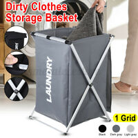 1/2 Sections Basket Hamper Laundry Foldable Wash Clothes Dirty Storage Bag Bin