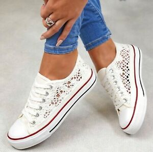 LADIES WOMENS FLAT CANVAS SNEAKERS PUMPS BEACH PLIMSOLLS SUMMER TRAINERS SIZE
