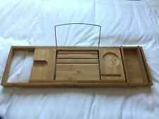 Extendable Bamboo bath caddy shelf