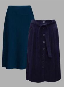 Seasalt Womens Smart Work Velvet Skirts 100% Cotton Blue and Navy Sz 10 &12~ New