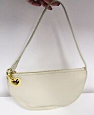 MOSCHINO Cream Textured Leather Half Moon Bag with Gold Heart Attaching Strap