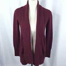 Charter Club Luxury Cashmere Sweater S Burgundy Red Long Open Front Cardigan