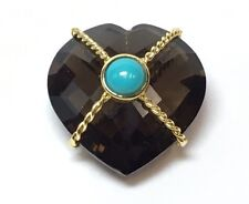 & Turquoise Good Luck Heart Charm Beautiful 18K Braided Yellow Gold Smoky Quartz