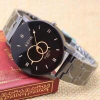 Fashion Design Black Stainless Steel Band Round Dial Quartz Wrist Watch Men Gift