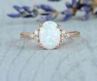 3Ct Oval Cut Fire Opal & Diamond Engagement Solitaire Ring 14K Rose Gold Finish