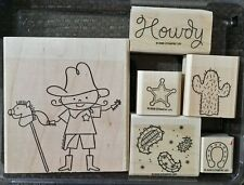 Stampin Up COWBOY KID Set of 6 Western Rubber Stamps Lot Cactus Horseshoe