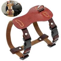 Non-Pull Small Medium Dog Harness Soft Genuine Leather Adjustable Pet Puppy Vest