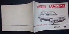 1983 ALFA ROMEO ALFETTA 2.4 Turbo Diesel manuale originale uso manutenzione