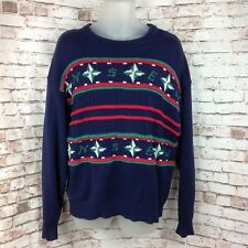 Vintage LORD JEFF Crewneck Blue Cotton Nautical Sweater Mens XL Compass Rose USA