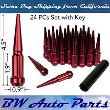 "24 PC RED SPLINE SPIKE SOLID STEEL LUG NUTS M14x1.5 | 4.5"" TALL with KEY"