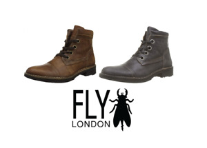 Fly London Mens RIZE976FLY Black, Tan Lace Up Soft Leather Comfort Casual Boot