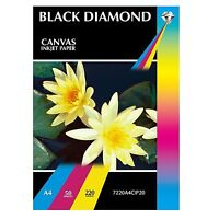 Canvas Photo Paper Inkjet 220 gsm A3/A4 Professional Grade - Black Diamond