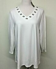Chicos Womens XL White 3/4 Sleeve Shirt Top Sz 3 Stretch Grommets NWT
