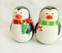 "Christmas Penguin Ceramic Salt and Pepper Shakers 3 and 1/2"" Scarves candy cane"