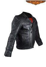 Mens Leather Motorcycle Jacket # MJ800-SS