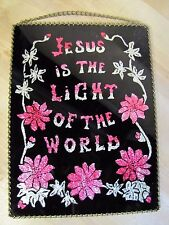 Old Jesus Is The Light Of The World Reverse Glass Foil Decorative Artwork Sign