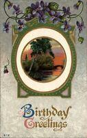 Birthday Art Deco ~ violets pond arch bridge ~ pretty unused embossed c1910