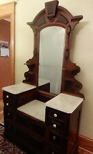 Antique Beautiful Victorian East Lake Walnut Marble Top Dresser with Mirror 81""