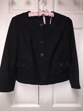 Womens 4 J Crew 100% Wool Black Cropped Jacket