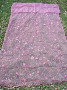 """BRIGHT PINK SET OF 2 Embroidered FLORAL W/SEQUINS 50X84"""" DRAPES W/ATTACH VALANCE"""