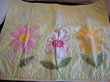 POTTERY BARN KIDS YELLOW QUILTED FLORAL EMBROIDERY STANDARD PILLOW SHAM GIRLS