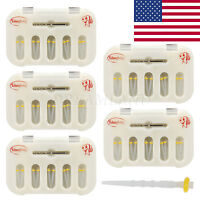 50PCS Dental Fiber Post Resin Post Screw Thread Quartz &5-Drills Yellow-USA S1-A
