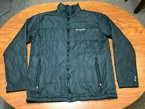 MENS USED COLUMBIA BLACK OMNI HEAT FULL ZIP QUILTED JACKET SIZE LARGE TALL