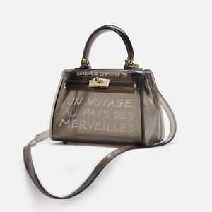 Women's PVC Jelly Bag Handbag Crossbody Bag Un Voyage Black - Mini Size Zara