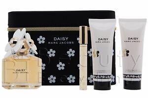 Marc Jacobs Daisy 4PC Gift Set 3.4oz EDT+2.5oz B/L+2.5oz S/G+Rollerball NIB