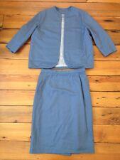Vtg 70s Japanese Sakura Custom Tailored Blue Two Piece Skirt Jacket Suit Set S/M