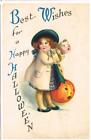 Best Wishes for a Happy Hallowe'en Postcard - Little Girl,w Mask. Pumpkin 1921