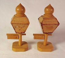 Vintage Salt & Pepper Shakers Wooden Lamp Posts w/ Threaded Wood Toppers