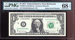 2017 $1 Federal Reserve Note with Fancy RADAR Serial # PMG Gem Unc 68EPQ