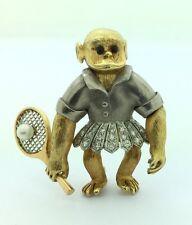 Ladies Estate Piece 18K Yellow Gold & Platinum Monkey Diamond Tennis Pin Pendant