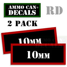 10MM Ammo Decal Sticker Set bullet Can Box Gun safety Hunting labels 2 pack RD