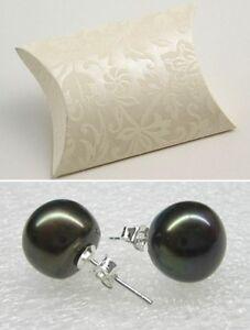 Real black freshwater pearl stud earrings ear rings silver back new in gift box