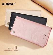 Genuine Leather Flip Wallet Case Card Holder Cover for Samsung Galaxy Note 8 S8 for iPhone 6 Plus Rose Gold