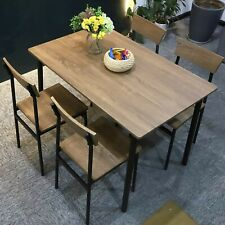 5Pc Wooden Dining Table Set 4 Chairs Kitchen Room Seat Breakfast Home Furniture