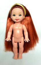 Barbie Kelly doll Nude Long Red Hair Redhead Yellow Ribbon Green Eyes Mattel New